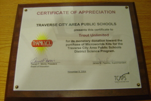 Certificate of Appreciation from TCAPS for the District Science Program Nov. 8, 2004
